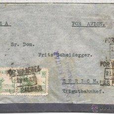 Sellos: GUERRA CIVIL CANARIAS LAS PALMAS CC A SUIZA SELLOS ISABEL CID Y LOCAL SOBRECARGA AEREA SELLO 13A VAR. Lote 53981422