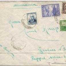 Sellos: GUERRA CIVIL CANARIAS PUERTO DE LA LUZ CC A ALEMANIA 1937 SELLO AEREO SOBRECARGA LOCAL Y BENEFICO . Lote 53981632