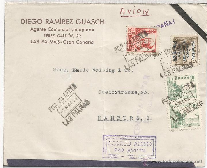 GUERRA CIVIL CANARIAS LAS PALMAS CC A ALEMANIA 1937 SELLO AEREO SOBRECARGA LOCAL MARCA DE CENSURA (Sellos - España - Guerra Civil - De 1.936 a 1.939 - Cartas)
