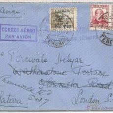 Sellos: GUERRA CIVIL CANARIAS SANTA CRUZ TENERIFE CC A INGLATERRA 1937 SELLO AEREO SOBRECARGA LOCAL MARCA D. Lote 53981744