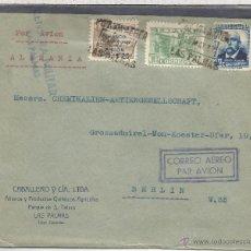 Sellos: GUERRA CIVIL CANARIAS LAS PALMAS CC A ALEMANIA 1937 SELLO AEREO SOBRECARGA LOCAL MARCA DE CENSURA F. Lote 53981778
