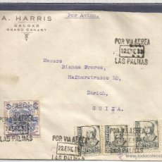 Sellos: GUERRA CIVIL CANARIAS LAS PALMAS CC A SUIZA 1938 SELLO AEREO SOBRECARGA LOCAL MARCA DE CENSURA SELL. Lote 53981817