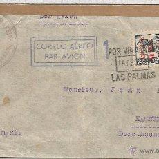Sellos: GUERRA CIVIL CANARIAS CC LAS PALMAS A ALEMANIA 1938 SELLO ISABEL SOBRECARGA LOCAL PARA CORREO AEREO . Lote 53997714