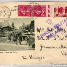 Sellos: CENSURA MILITAR MÁLAGA, SOBRE TARJETA POSTAL DE PARIS. 1939. Lote 54023961