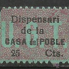 Timbres: 2501A-RARO SELLO U.G.T ESPAÑA GUERRA CIVIL 1937 DISPENSARI CASA DEL POBLE,CASA DEL PUEBLO CATALUÑA.2. Lote 54162508