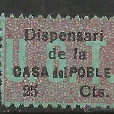 Sellos: 952-RARO SELLO U.G.T ESPAÑA GUERRA CIVIL 1937 DISPENSARI CASA DEL POBLE,CASA DEL PUEBLO CATALUÑA.2. Lote 54162522