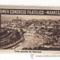 Sellos: VIÑETA DE MANRESA PRIMER CONGRESO FILATELICO MANRESA 1947 VISTA PARCIAL DE MANRESA 1ª SERIE . Lote 54649649