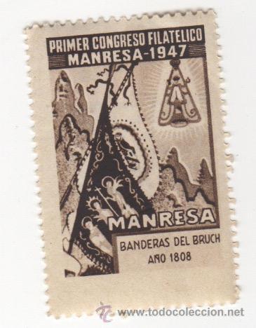 VIÑETA DE MANRESA PRIMER CONGRESO FILATELICO MANRESA 1947 BANDERAS DEL BRUCH 1808 1ª SERIE (Sellos - España - Guerra Civil - Viñetas - Nuevos)