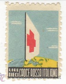 VIÑETA LIRE DIECI CROCE ROSSA ITALIANA - CRUZ ROJA ITALIANA (Sellos - España - Guerra Civil - Viñetas - Nuevos)