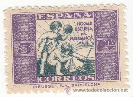 HUÉRFANOS DE CORREOS. EDIFIL 8. ALEGORÍA INFANTIL. NUEVO CON FIJASELLOS. (Sellos - España - Guerra Civil - Beneficencia)