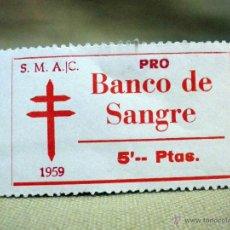 Sellos: VIÑETA, PRO TUBERCULOSOS, BANCO DE SANGRE, 5 PESETAS, 1959. Lote 54852730