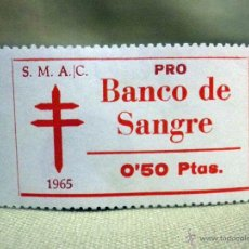 Sellos: VIÑETA, PRO TUBERCULOSOS, BANCO DE SANGRE, 0,50 PESETAS, 1965. Lote 54852744