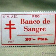 Sellos: VIÑETA, PRO TUBERCULOSOS, BANCO DE SANGRE, 20 PESETAS, 1967. Lote 54852778