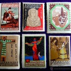 Selos: 6 VIÑETAS ORIGINALES EXPOSICIÓN INTERNACIONAL DE BARCELONA. 1929. SIN USAR. VIÑETA EL ARTE EN ESPAÑA. Lote 293436823