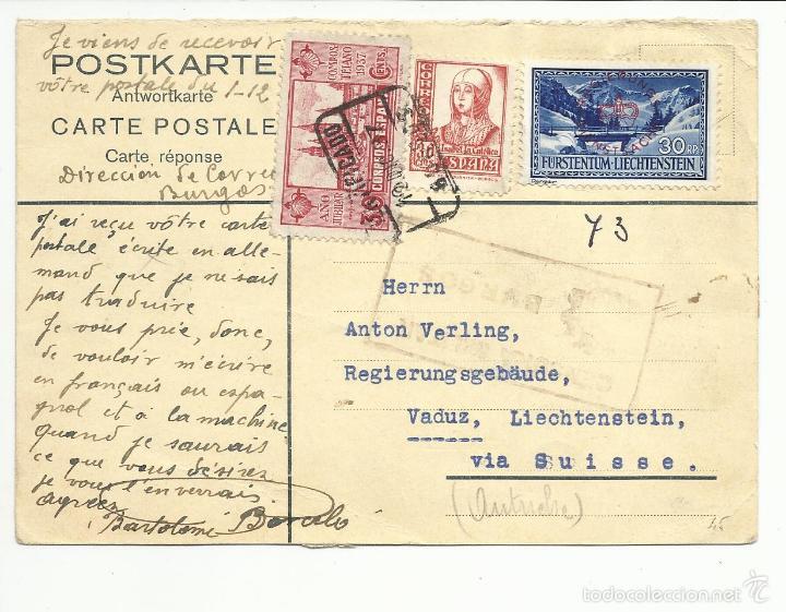 POSTAL CIRCULADA 1937 DE BURGOS A LIECHTENSTEIN CON CENSURA MILITAR VER FOTO (Sellos - España - Guerra Civil - De 1.936 a 1.939 - Cartas)