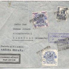 Sellos: GUERRA CIVIL CANARIAS CC AEREA A ALEMANIA CON SELLO AEREO SOBRECARGA LOCAL VIÑETA BENEFICA MAT AEREO. Lote 55908335