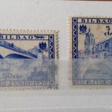 Sellos: 2 SELLOS GUERRA CIVIL. BILBAO. 1937- 19 DE JUNIO - 1938. 5 Y 50 CTS.. Lote 56020454