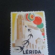 Sellos: VIÑETA TURÍSTICA DE LÉRIDA. LLEIDA. FIESTAS DE SAN ANASTASIO. AÑO 1947. RARA. BELLA. CHARNELA.. Lote 56162581
