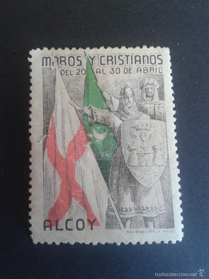 VIÑETA TURÍSTICA DE ALCOY. MOROS Y CRISTIANOS. AÑOS 50. (Sellos - España - Guerra Civil - Viñetas - Nuevos)