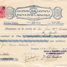 Sellos: 1938. ZARAGOZA SELLO 10 CTS PRO AVION. RECIBO SOCIEDAD FARMACEUTICA ARAGONESA. Lote 56168991