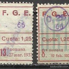 Sellos: 725-LOTE 2 SELLOS DIFERENTES ESPAÑA GUERRA CIVIL U.G.T. 1933/4.DISTINTAS SOBRECARGAS,HABILITADOS UN. Lote 56238306