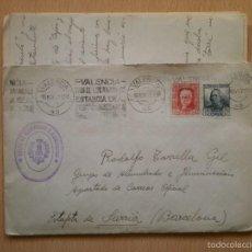 Sellos: CARTA Y SOBRE, GUERRA CIVIL, SECCION DE ALUMBRADO, VALENCIA. Lote 56337274