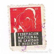 Sellos: GUERRA CIVIL 1937 VIÑETA FEDERACION NACIONAL DE SANIDAD E HIGIENE - C.N.T. - A.I.T.. Lote 56595216