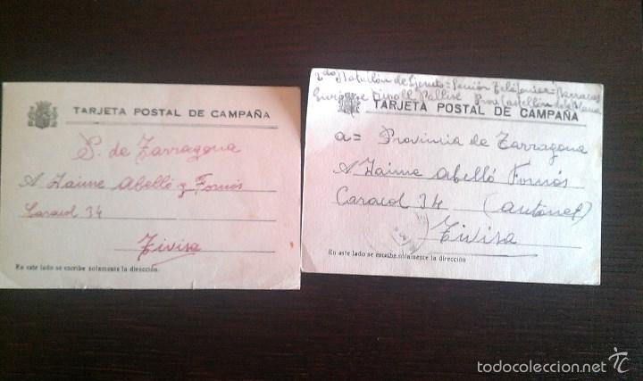 1937 TIVISA TIVISSA VILLAROBLEDO ALBACETE LOTE DOS TARJETAS POSTALES DE CAMPAÑA GUERRA CIVIL (Sellos - España - Guerra Civil - De 1.936 a 1.939 - Cartas)