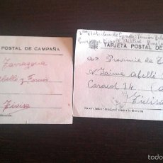 Sellos: 1937 TIVISA TIVISSA VILLAROBLEDO ALBACETE LOTE DOS TARJETAS POSTALES DE CAMPAÑA GUERRA CIVIL. Lote 56857486