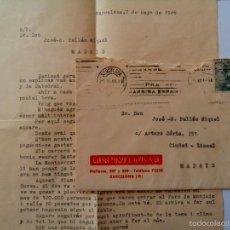 Sellos: CIRCULADA MECANOESCRITA 1946 BARCELONA A MADRID FECHADOR RODILLO FRANCO FRANCO FRANCO ARRIBA ESPAÑA. Lote 56897268