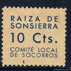 Sellos: SELLO LOCAL GUERRA CIVIL RAIZA DE SONSIERRA COMITÉ LOCAL DE SOCORROS 10 CTS LOT02MAY2016. Lote 57431229
