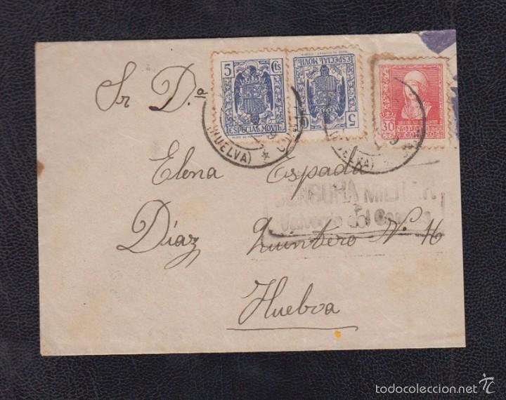 1939.- VALVERDE DEL CAMINO (HUELVA) A HUELVA (Sellos - España - Guerra Civil - De 1.936 a 1.939 - Cartas)