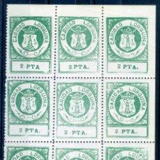 Sellos: CARIDAD LORQUINA 1937 GUERRA CIVIL BLOQUE DE 9 SELLOS NUEVOS CON GOMA ORIGINAL MNH** LORCA MURCIA. Lote 57647785
