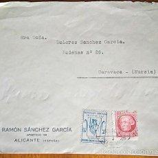 Sellos: CARTA CIRCULADA DE ALICANTE A CARAVACA CON VIÑETA SINDICATO CARTEROS PRO-MILICIAS POPULARES MURCIA. Lote 57694708