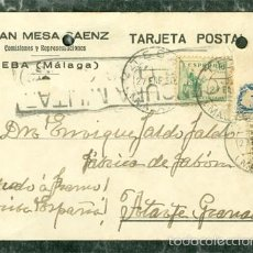 Sellos: POSTAL TEBA MALAGA A ATARFE GRANADA 1938 GUERRA CIVIL. Lote 57787884
