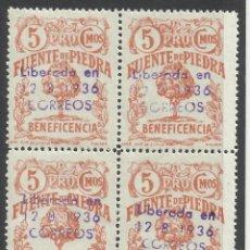 Sellos: 1936 BENEFICENCIA FUENTE DE PIEDRA LIBERADA 5 CTS NUEVO** BLOQUE DE 4. Lote 105887819