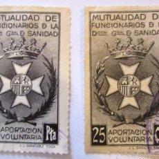 Sellos: 2 SELLOS BENEFICENCIA MUTUALIDAD FUNCIONARIOS SANIDAD. Lote 58177920