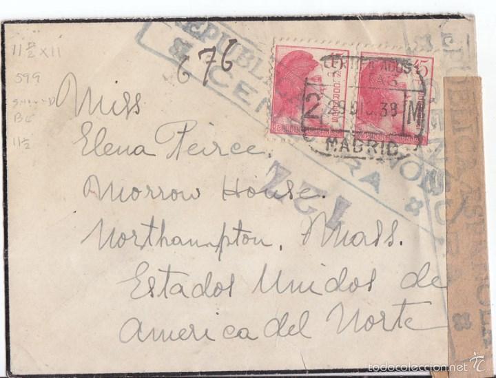 SOBRE CERTIFICADO DE MADRID A ESTADOS UNIDOS. 1938. CENSURA MILITAR. DORSO MUCHAS MARCAS (Sellos - España - Guerra Civil - De 1.936 a 1.939 - Cartas)