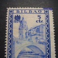 Sellos: SELLO GUERRA CIVIL BILBAO 5 CTS. 19 JUNIO 1937 - 1938. Lote 58388500