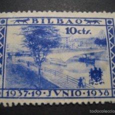 Sellos: SELLO GUERRA CIVIL BILBAO 10 CTS. 19 JUNIO 1937 - 1938. Lote 58388509