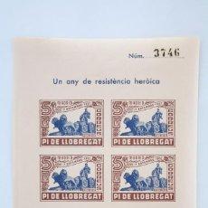 Sellos: HOJITA BLOQUE SIN DENTAR - UN ANY DE RESISTÈNCIA HERÒICA. MADRID, 1936-1937 - PI DE LLOBREGAT. Lote 60054139