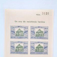 Sellos: HOJITA BLOQUE DENTADA - UN ANY DE RESISTÈNCIA HERÒICA. MADRID, 1936-1937 - PI DE LLOBREGAT. Lote 60054279