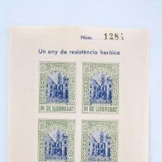 Sellos: HOJITA BLOQUE DENTADA - UN ANY DE RESISTÈNCIA HERÒICA. MADRID, 1936-1937 - PI DE LLOBREGAT. Lote 60054395