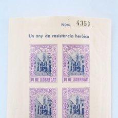 Sellos: HOJITA BLOQUE SIN DENTAR - UN ANY DE RESISTÈNCIA HERÒICA. MADRID, 1936-1937 - PI DE LLOBREGAT. Lote 60054435
