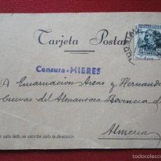 Sellos: MIERES. ASTURIAS. ENERO 1937. POSTAL BARRIO DE LA FABRICA DE MIERES A ALMERIA. RARA CENSURA.. Lote 60147979