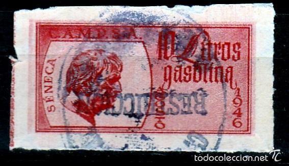 CUPON CAMPSA .10 LITROS DE GASOLINA. 1946. ROJO. (Sellos - España - Guerra Civil - Viñetas - Usados)