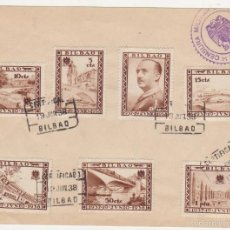 Sellos: CARTA DE BILBAO DEL 19 JUN. 1938. FRANQUEADO CON 7 SELLOS BILBAO Y CENSURA MILITAR.. Lote 60768495