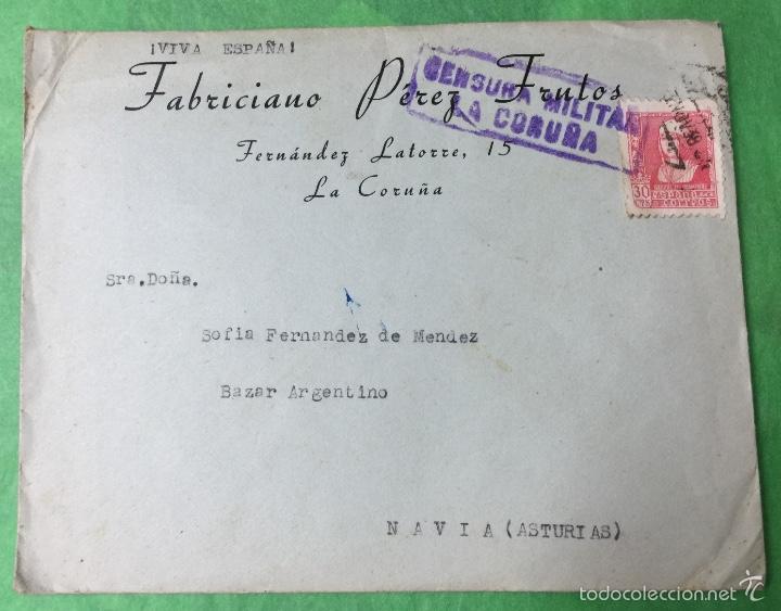 SOBRE Y CARTA DIRIGIDA A NAVIA (ASTURIAS) - CENSURA MILITAR DE LA CORUÑA (Sellos - España - Guerra Civil - De 1.936 a 1.939 - Cartas)