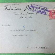 Sellos: SOBRE Y CARTA DIRIGIDA A NAVIA (ASTURIAS) - CENSURA MILITAR DE LA CORUÑA. Lote 60874427