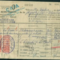 Sellos: ** RECIBO LA CENTRAL NACIONAL SINDICALISTA DE VALENCIA 1941 CON 12 FISCALES 25 CTS ESP. MÓVIL **. Lote 61251355